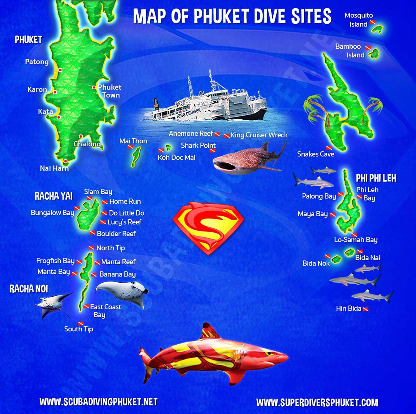 Map of Phuket dive sites by Super Divers